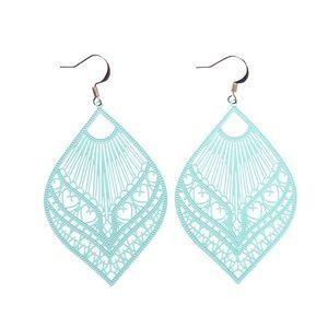 Jewelry - Blue Boho Metal Filigree Fan Earrings